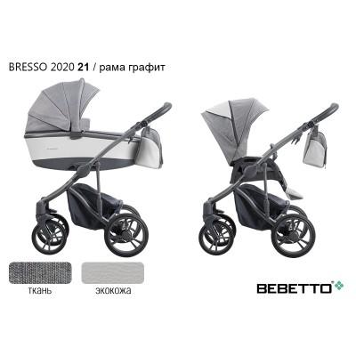 Коляска 3 в 1 Bebetto Bresso 2020 (экокожа+ткань) 21/рама графит