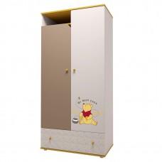 """Шкаф двухсекционный Polini kids Disney baby """"Медвежонок Винни и его друзья"""", белый-макиато"""