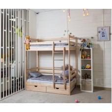 Двухъярусная кровать Altezza цвет натуральный с ящиками