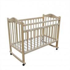 Кровать детская 01 колесо-качалка съемная боковая стенка светлый