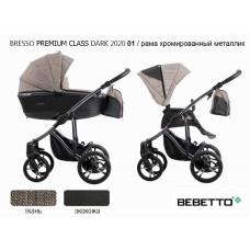 Коляска 2 в 1 Bebetto Bresso Premium Class DARK 2020 (экокожа+ткань) 01/рама хромир. металлик