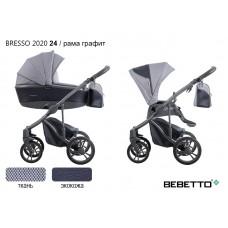 Коляска 2 в 1 Bebetto Bresso 2020 (экокожа+ткань) 24/рама графит