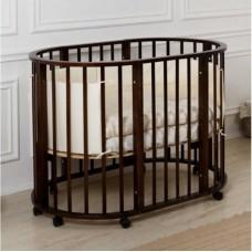 Круглая-овальная кроватка 7в1 MIKA MINI 75-125  4 колеса венге