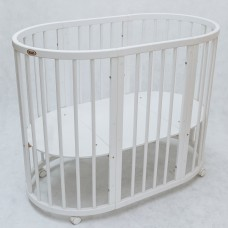 Круглая кроватка-трансформер Premium (70х80 см, 70х128 см) белый
