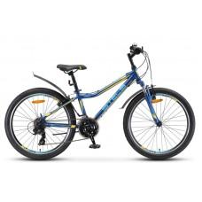 "Велосипед 24"" STELS Navigator-410 V 21-sp (13"" Тёмно-синий/жёлтый) (LU091557)"