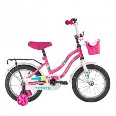 """Велосипед NOVATRACK 14"""" TETRIS розовый, тормоз нож, крылья цвет, багажник, корзина, полная защ.цепи"""