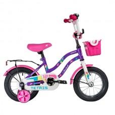 """Велосипед NOVATRACK 12"""" TETRIS фиолетовый,тормоз нож.,крылья цвет.,багажник чёрный., перед.корзина,"""